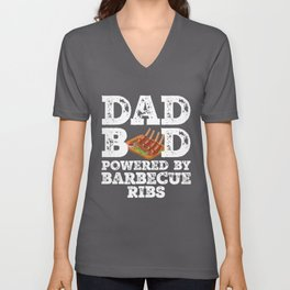 Dad Bod Powered By Barbecue ribs Father Figure Gifts Idea with Funny Graphic for Food Lovers Unisex V-Neck