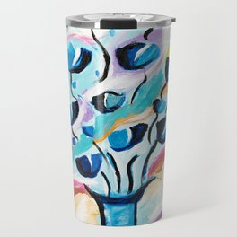 Modern Abstract Flowers Travel Mug
