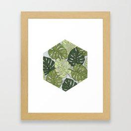 Monstera Hexagon Pattern Framed Art Print