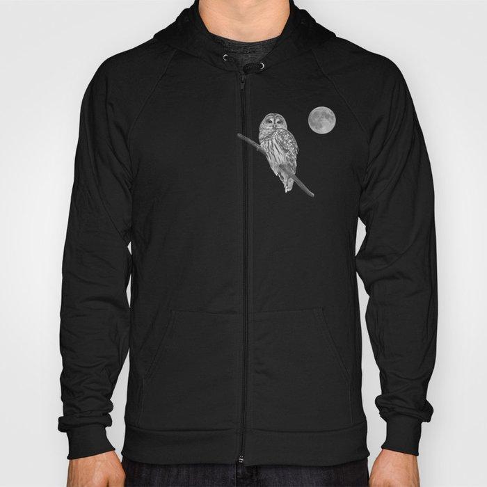 Owl, See the Moon (bw) Hoody