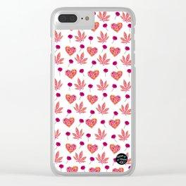 i Heart Pot Leaf Print Clear iPhone Case