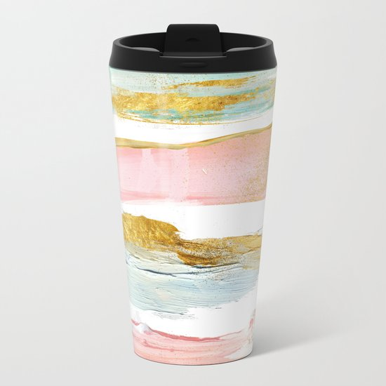 Pastel and gold strokes Metal Travel Mug