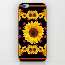 Black Western Blanket Style Sunflowers iPhone Skin