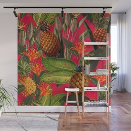 Vintage & Shabby Chic - Hot Summer Pineapple Tropical Flower Garden Wall Mural