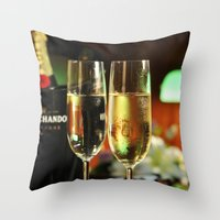 champagne Throw Pillows featuring champagne by laika in cosmos