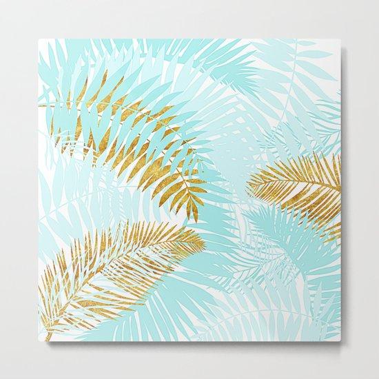 Aloha- Tropical Palm Leaves and Gold Metal Foil Leaf Garden Metal Print