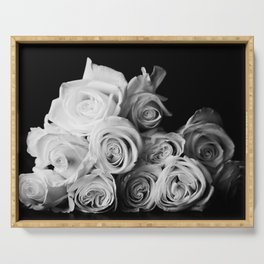 White Roses Serving Tray