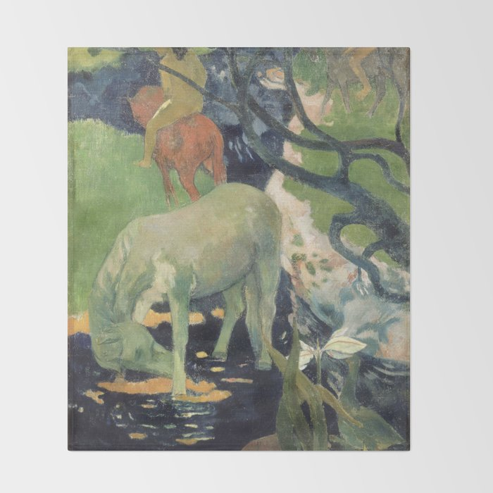 The White Horse by Paul Gauguin Throw Blanket