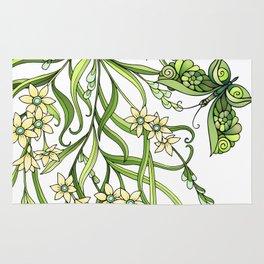Butterflies In Flowers Rug