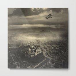 Edinburgh by Air, Scotland, 1920 aerial black and white photograph / photography Metal Print