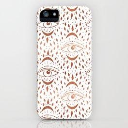 Mystic Eye - copper, rosegold, mystical art, eveil eye, eye design, linocut home dec monoo iPhone Case