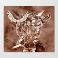 snk Canvas Prints featuring SnK-Wing of freedom by Gin-Uzumaki