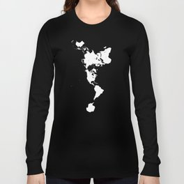 Dymaxion World Map (Fuller Projection Map) - Minimalist White on Black Long Sleeve T-shirt