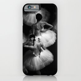 Ballerinas getting ready for the big performance black and white photograph - photographs iPhone Case