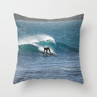 surfer Throw Pillows featuring Surfer by MapMaster