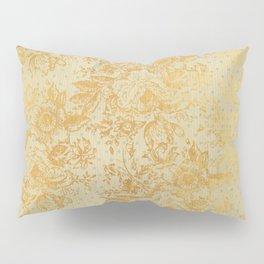 golden vintage damask floral pattern Pillow Sham