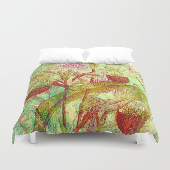 abstract floral with red Duvet Cover