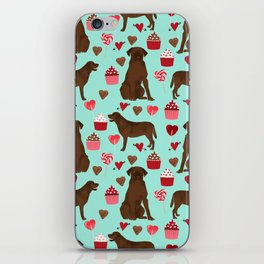 Chocolate Labrador Retriever valentines day cupcakes love hearts dog gifts labs iPhone Skin