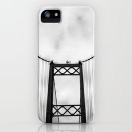 Vintage Monochromatic Black and White Bridge with Clouds Fine Art Print iPhone Case