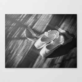 Ballet dance shoes. Black and White version. Canvas Print