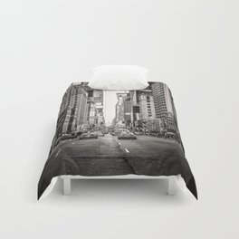 Sunset on 7th (Black and White Version) Comforters