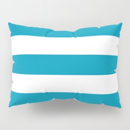 Nicole and Bri Blue - solid color - white stripes pattern Pillow Sham