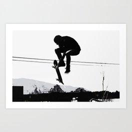 Flying High Skateboarder Art Print