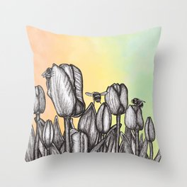 """Get Floral """"Busy Bees"""" Throw Pillow"""