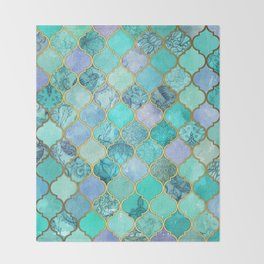 Cool Jade & Icy Mint Decorative Moroccan Tile Pattern Throw Blanket