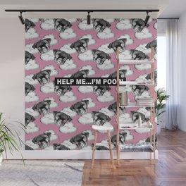 PUG SUKI - HELP ME I'M POOR - CLOUD PATTERN - PINK Wall Mural