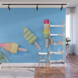 Three Ice Lollies on Blue Wall Mural