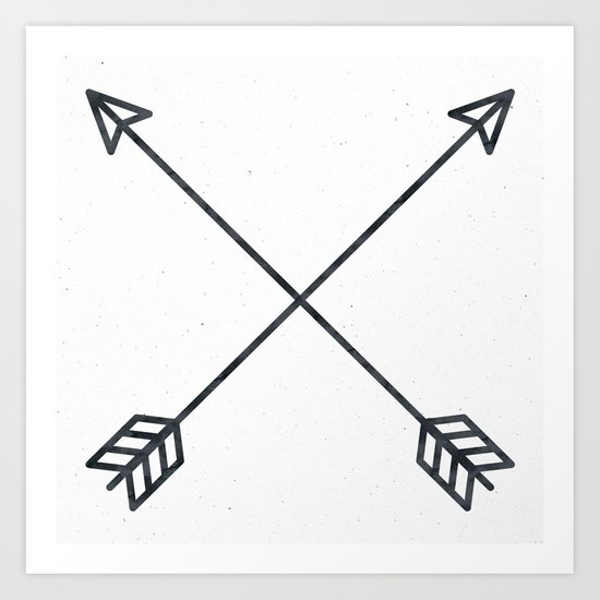 Black Arrows on White Paper Art Print