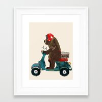 Framed Art Prints featuring scooter bear by bri.buckley