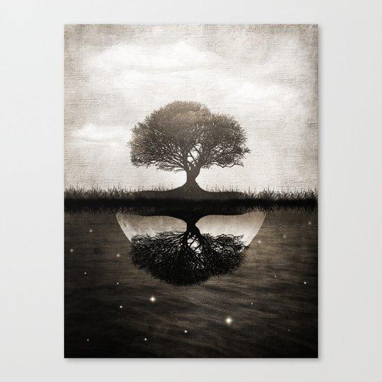 The lone Night reflex Canvas Print