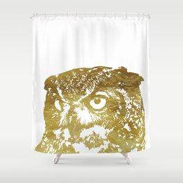 Faux Gold Foil Owl Shower Curtain