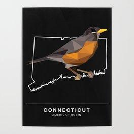 Connecticut – American Robin (Black) Poster