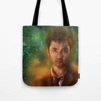 david tennant Tote Bags featuring 10th Doctor David Tennant by SachsIllustration