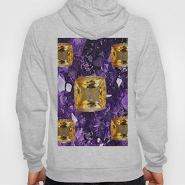PURPLE AMETHYST & GOLDEN TOPAZ GEM CRYSTALS ART Hoody
