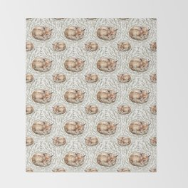 Sleeping foxes with leaves Throw Blanket