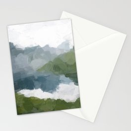 Gray Blue Lake White Clouds Green Mountain Reflection Abstract Nature Painting Art Print Wall Decor  Stationery Cards