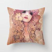 laura palmer Throw Pillows featuring Laura by Megan Lara