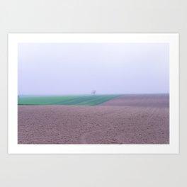 Tree in a Field in the Fog Art Print
