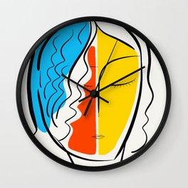 Graphic Minimal Portrait Design Orange Yellow and Blue Wall Clock