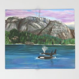 Orcas at the Chief Throw Blanket