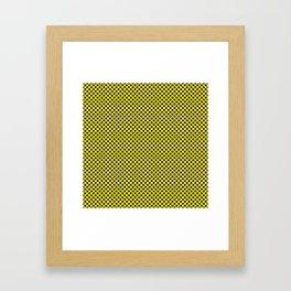Blazing Yellow and Black Polka Dots Framed Art Print