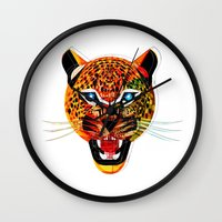jaguar Wall Clocks featuring jaguar by Alvaro Tapia Hidalgo