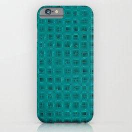Square pastel curved stripes with imitation of the bark of a light blue tree trunk. iPhone Case