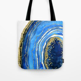 Cobalt blue and gold geode in watercolor (2) Tote Bag