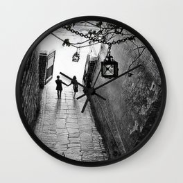 Fooled Around and Fell in Love, Florence, Italy 2014 romantic black and white photography / photograph Wall Clock
