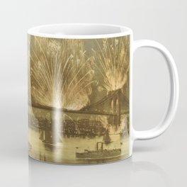4th of July Fireworks on The Brooklyn Bridge Illustration (1883) Coffee Mug